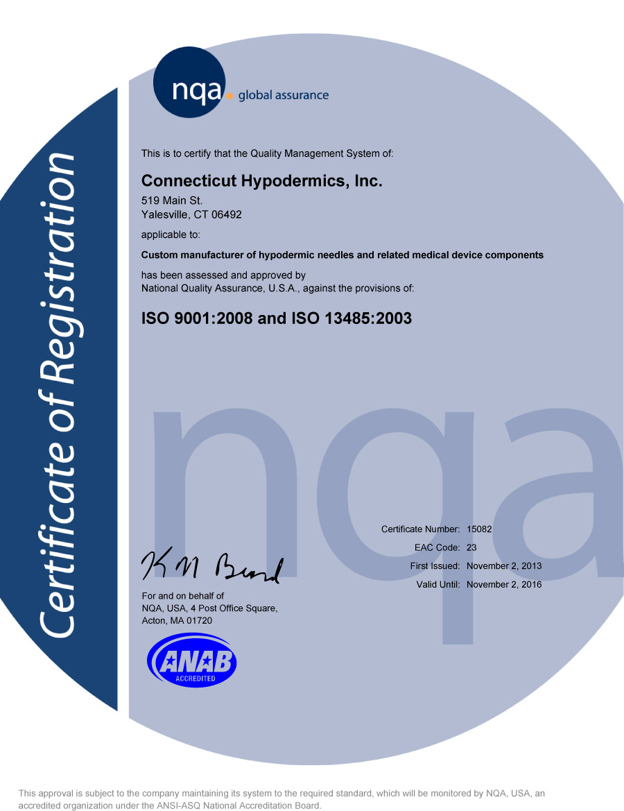 Iso certification connecticut hypodermics inc iso certification xflitez Images